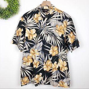 Tops - 🌿 Golden Hibiscus Flower Print Hawaiian Shirt XL